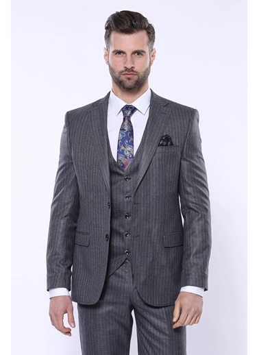 Wessi Erkek Çizgili Slim Fit Yelekli Takım Elbise Gri
